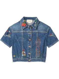Джинсовая куртка с вымытым и обработанным камнем (Big Kids) Gucci Kids