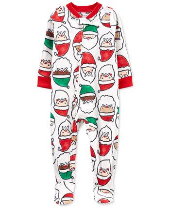 Цельнокроеная флисовая пижама с принтом Санта-Клауса для маленьких мальчиков и девочек Carter's