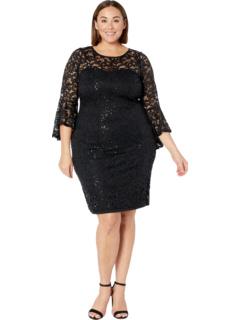 Платье большого размера с кружевной отделкой и блестками MARINA