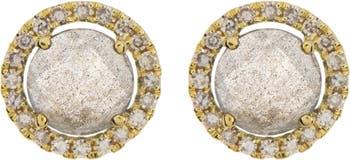 Серьги-гвоздики из желтого золота 14 карат с лабрадоритом и бриллиантами Meira T