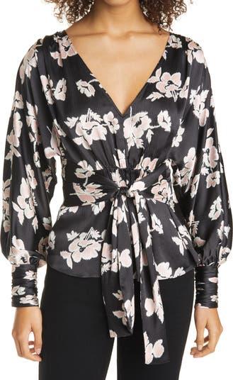 Шелковая блузка Yesenia с цветочным узором на завязках спереди Cinq a Sept