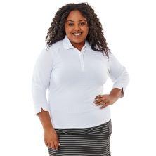 Рубашка-поло с рукавами 3/4 больших размеров Nancy Lopez Journey Nancy Lopez