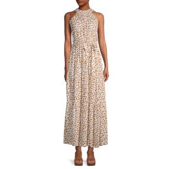Многослойное платье макси с вырезом под горло STELLAH