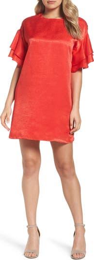 Платье прямого кроя с оборками из шармеза NSR