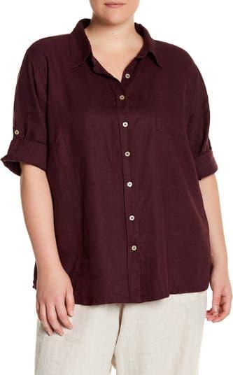 3/4 Sleeve Linen Shirt Allen Allen