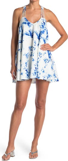 Water Print Strappy Swing Dress Lucy Paris
