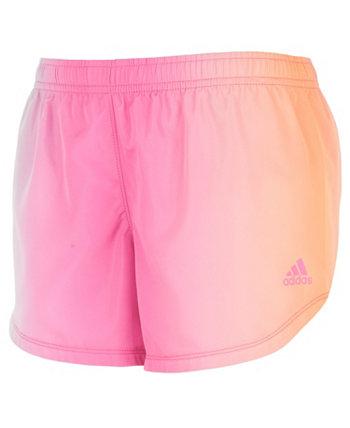 Тканые шорты с эффектом омбре для маленьких девочек Adidas