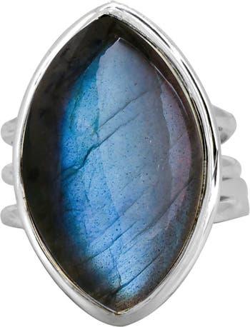 Кольцо из стерлингового серебра с 3 полосами лабрадорита Nitya