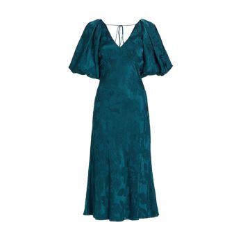 Платье миди из шелкового жаккарда с цветочным принтом ML Monique Lhuillier