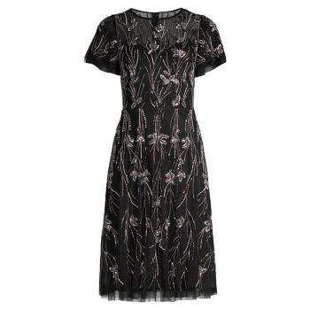 Крой с короткими рукавами и бисером; Платье-клеш Aidan Mattox