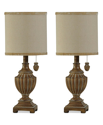 Набор из 2 традиционных мини-настольных ламп с отделкой из Кералы StyleCraft