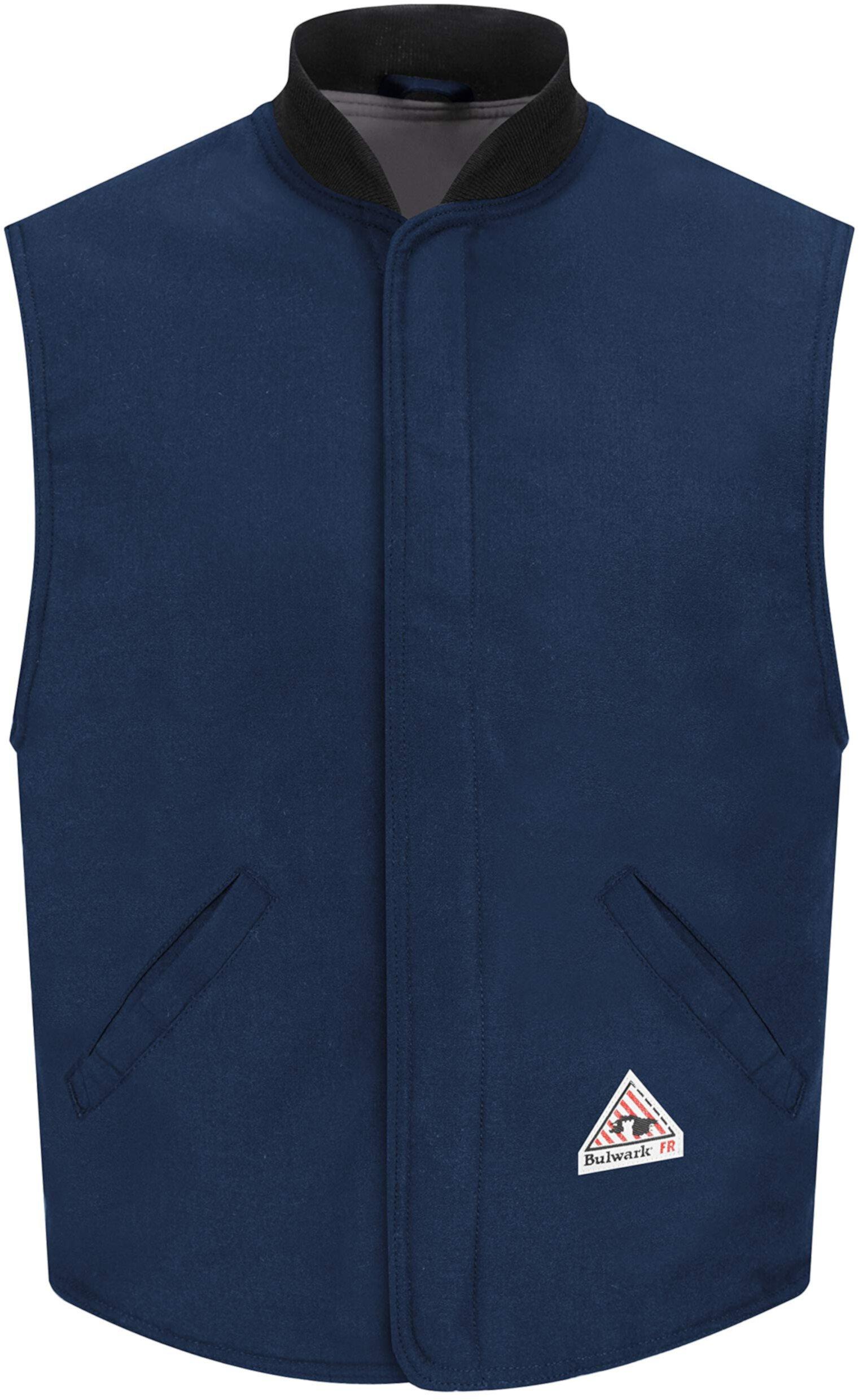 Огнестойкая подкладка жилета Nomex Iiia на 4,5 унции с ребристым воротником, темно-синий Bulwark FR