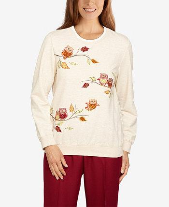 Пуловер с совами большого размера Classics Alfred Dunner