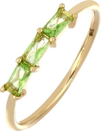 Кольцо из желтого золота 18 карат с тройным перидотом огранки багет Bony Levy