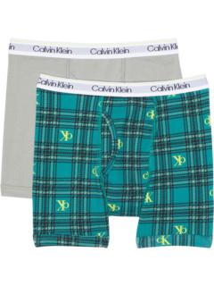 2 пары современных хлопковых боксеров (для маленьких / больших детей) Calvin Klein