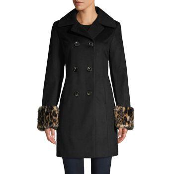 Двубортное пальто из смесовой шерсти с манжетами из искусственного меха Tahari