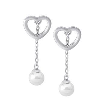 Серебро 925 пробы и Серьги-капли в форме сердца с органическим искусственным жемчугом 6 мм Majorica