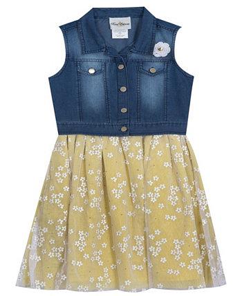 Джинсовое платье-жилет для маленьких девочек с сетчатыми ромашками, набор из 2 шт. Rare Editions
