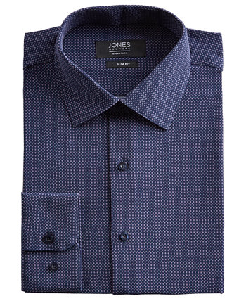 Мужская приталенная классическая рубашка Performance Stretch Cooling Tech Темно-синяя / лавандовая / белая классическая рубашка с ромбовидным принтом Jones New York