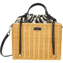 Плетеная сумка-портфель среднего размера Sam Gingham Kate Spade New York