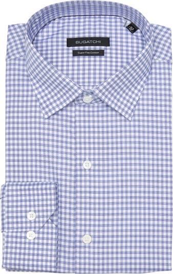 Классическая рубашка в мелкую клетку обычного кроя BUGATCHI