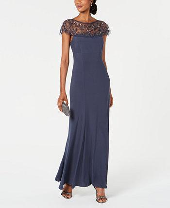Платье трапециевидной формы с отделкой бисером R & M Richards