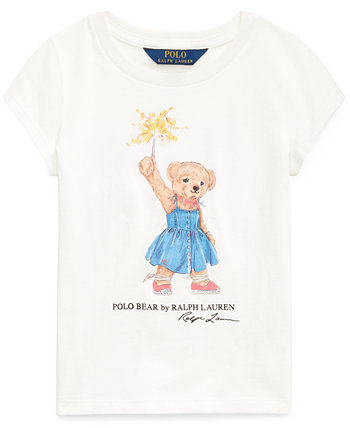 Хлопковая футболка Sparkler Bear Big Girls Ralph Lauren