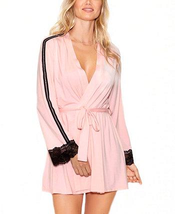 Элегантный женский трикотажный халат с контрастным кружевом ICollection