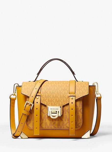 Сумка-портфель Manhattan из кожи среднего размера с логотипом Michael Kors