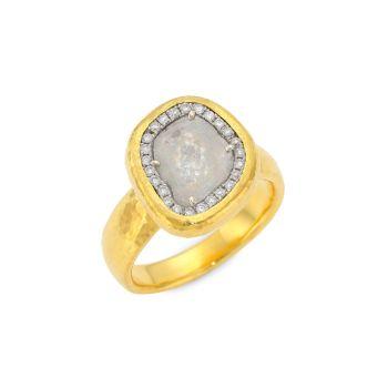 Желтое золото 24 карат, белое золото 18 карат и amp; Кольцо Diamond Elements Gurhan