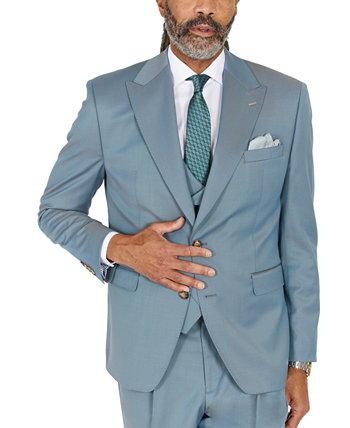 Мужской однотонный бирюзовый костюм классического кроя отделяет куртку Tayion Collection