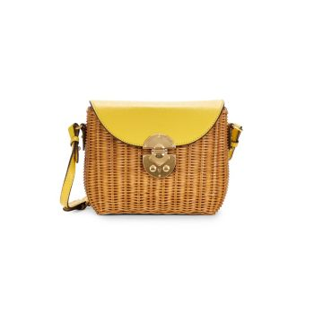 Средняя плетеная & amp; Кожаная сумка через плечо MIU MIU