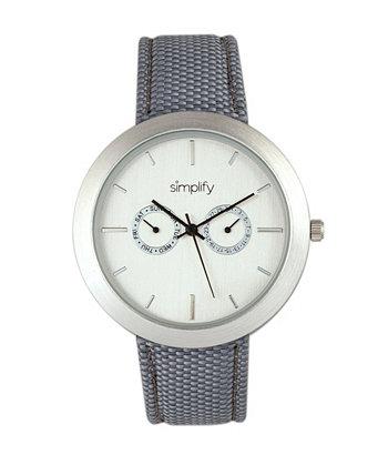 Кварцевые часы с белым циферблатом 6100, серый полиуретановый ремешок с покрытием из холста, 43 мм Simplify