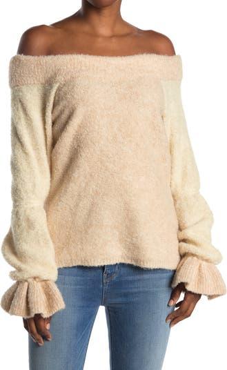 Свитер Maisie с открытыми плечами и круглым вырезом с оборками и манжетами Something Navy