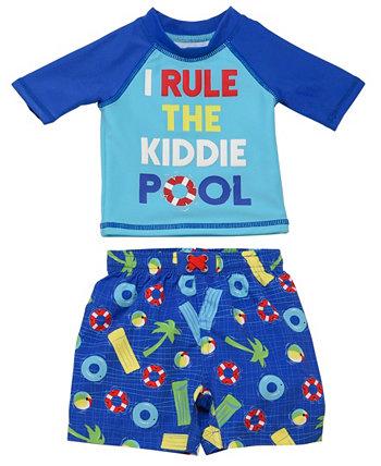 Набор из двух частей Rashguard для младенцев и мальчиков с забавным дизайном бассейна Wetsuit Club