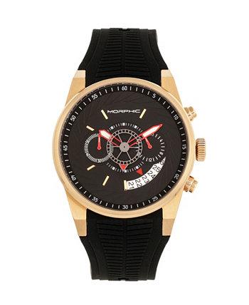 Кварцевые часы серии M72, MPH7203, черный / золотой хронограф, силиконовые часы, 43 мм Morphic
