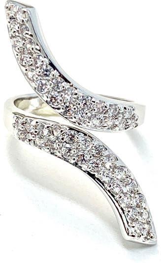 Кольцо с покрытием из родиевых лент и паве с паве Covet