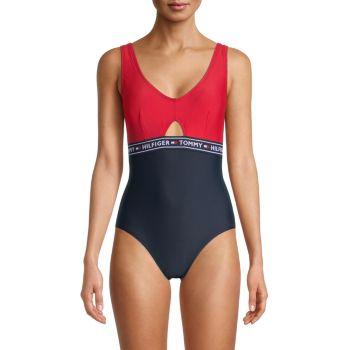 Сплошной купальник с эластичным логотипом Tommy Hilfiger