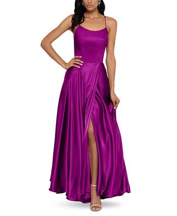 Атласное платье с бретельками Betsy & Adam