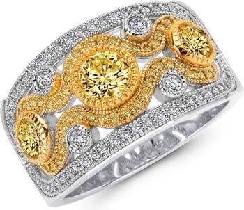 Кольцо из стерлингового серебра со связкой из платины с имитацией бриллианта и канареечного бриллианта с широкой полосой LaFonn