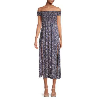 Платье с открытыми плечами и цветочным принтом STELLAH