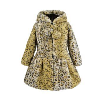 Маленькая девочка & amp; Пальто с помпонами из искусственного меха с леопардовым принтом для девочек WIDGEON