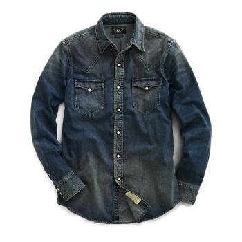 Джинсовая рубашка зауженного кроя в западном стиле Ralph Lauren