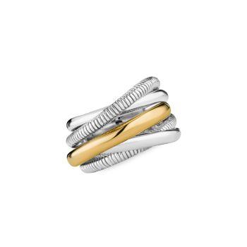 Eternity 18K желтое золото & amp; Кольцо Highway из стерлингового серебра с 5 полосами Judith Ripka
