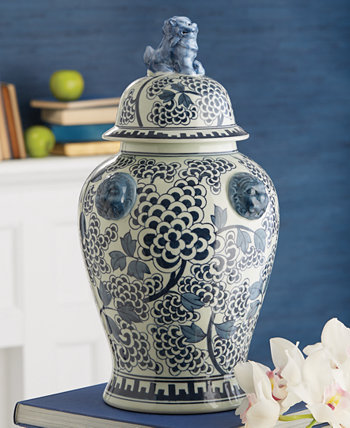 Peony Flower Covered Temple Jar with Lion Accents Two's Company