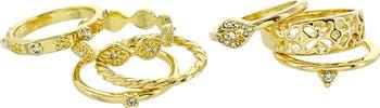 Винтажные кольца с паве с кристаллами - набор из 6 - размер 6 Panacea