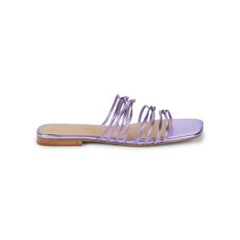 Marcio Metallic Leather Slide Sandals Marc Fisher LTD