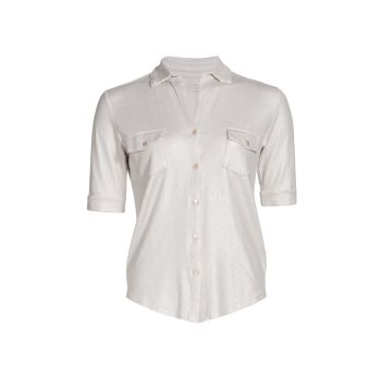 Рубашка с металлическими пуговицами Soft Touch спереди Majestic Filatures