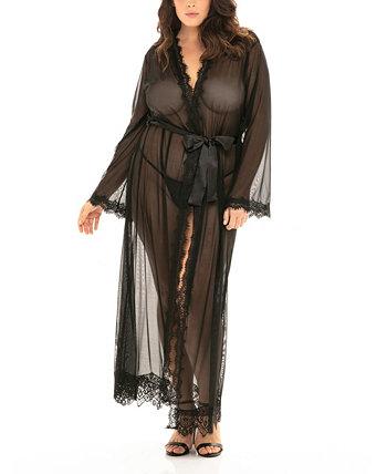 Кружевной халат больших размеров в пол с атласным поясом Oh la la Cheri