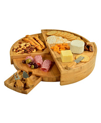 Вена-трансформирующая многоуровневая бамбуковая доска для сыра с инструментами Picnic At Ascot